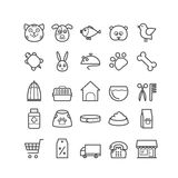 Sistema de iconos de la tienda de animales del esquema Los iconos finos para el web, impresión, los apps móviles diseñan Foto de archivo libre de regalías