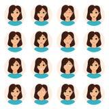 Sistema de iconos de las emociones de la mujer ilustración del vector