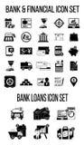 Sistema de iconos de las finanzas y de las actividades bancarias Foto de archivo libre de regalías