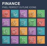 Sistema de iconos de las finanzas y de las actividades bancarias con la sombra larga Imágenes de archivo libres de regalías