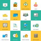 Sistema de iconos de las finanzas y del dinero Foto de archivo