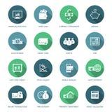 Sistema de iconos de las finanzas y del dinero Foto de archivo libre de regalías