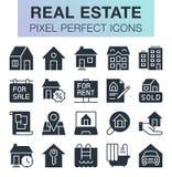 Sistema de iconos de las propiedades inmobiliarias Foto de archivo