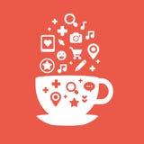 Sistema de iconos de las tazas de mosca del café blancas y de los colores rojos Fotos de archivo libres de regalías