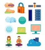 Sistema de iconos de las tecnologías de red en diseño plano stock de ilustración