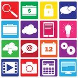Sistema de 16 iconos de las TIC y del web Imagen de archivo