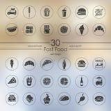 Sistema de iconos de los alimentos de preparación rápida Imágenes de archivo libres de regalías