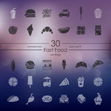 Sistema de iconos de los alimentos de preparación rápida Imagen de archivo libre de regalías
