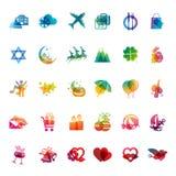 Sistema de iconos de los días de fiesta Imagenes de archivo