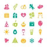 Sistema de 25 iconos de los días de fiesta Foto de archivo