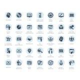 Sistema de iconos de los medios y de la publicidad stock de ilustración