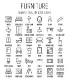 Sistema de iconos de los muebles en la línea estilo fina moderna ilustración del vector