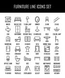 Sistema de iconos de los muebles en la línea estilo fina moderna Fotos de archivo