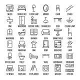 Sistema de iconos de los muebles en la línea estilo fina moderna Fotografía de archivo libre de regalías