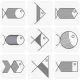 Sistema de iconos de los pescados del negro del vector en el fondo blanco Imágenes de archivo libres de regalías