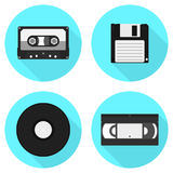 Sistema de iconos de los portadores de información del vintage Conjunto de iconos del vector Fotos de archivo libres de regalías