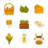 Sistema de iconos de los productos agrícolas ilustración del vector