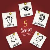 Sistema de iconos de los sentidos en notas pegajosas Imagen de archivo libre de regalías