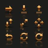 Sistema de iconos de oro stock de ilustración