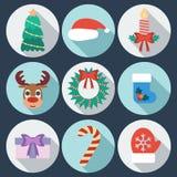 Sistema de iconos del Año Nuevo y de la Navidad Diseño plano Foto de archivo libre de regalías