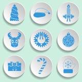 Sistema de iconos del Año Nuevo y de la Navidad Diseño plano Color azul Foto de archivo