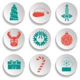 Sistema de iconos del Año Nuevo y de la Navidad Diseño plano Verde y rojo Vector Fotografía de archivo