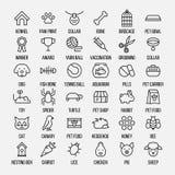 Sistema de iconos del animal doméstico en la línea estilo fina moderna Fotos de archivo