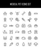Sistema de iconos del animal doméstico en la línea estilo fina moderna stock de ilustración