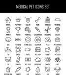 Sistema de iconos del animal doméstico en la línea estilo fina moderna ilustración del vector