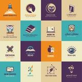 Sistema de iconos del arte y de la educación Fotografía de archivo libre de regalías