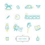 Sistema de iconos del bebé en estilo linear de moda stock de ilustración
