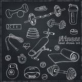 Sistema de iconos del bosquejo de la dieta y de la atención sanitaria del levantamiento de pesas de la aptitud Fotos de archivo libres de regalías