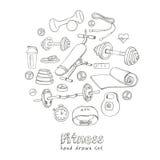 Sistema de iconos del bosquejo de la dieta y de la atención sanitaria del levantamiento de pesas de la aptitud Fotografía de archivo libre de regalías