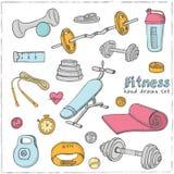 Sistema de iconos del bosquejo de la dieta y de la atención sanitaria del levantamiento de pesas de la aptitud Fotografía de archivo
