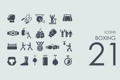Sistema de iconos del boxeo Foto de archivo