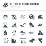 Sistema de iconos del calentamiento del planeta Desastres naturales causados por el cambio de clima libre illustration