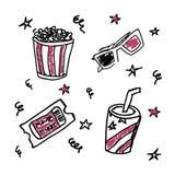 Sistema de iconos del cine del garabato Fotografía de archivo libre de regalías