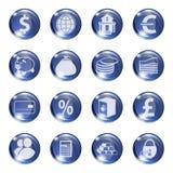 Sistema de iconos del color azul en un banco sujeto Fotos de archivo