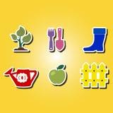 Sistema de iconos del color con horticultura Imágenes de archivo libres de regalías