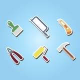 Sistema de iconos del color con las herramientas relacionadas Imagen de archivo libre de regalías