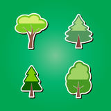 Sistema de iconos del color con los árboles Imagen de archivo
