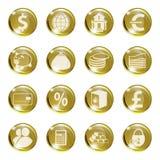 Sistema de iconos del color oro en un banco sujeto Foto de archivo libre de regalías