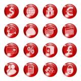 Sistema de iconos del color rojo en un banco sujeto Imagenes de archivo