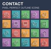 Sistema de iconos del contacto y de la comunicación con la sombra larga Imagenes de archivo