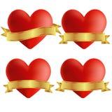 Sistema de iconos del corazón con las insignias, illustratio del vector stock de ilustración