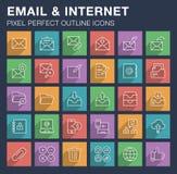 Sistema de iconos del correo electrónico y de Internet con la sombra larga Imagenes de archivo
