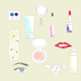 Sistema de iconos del cosmético del dibujo de la mano Fotos de archivo libres de regalías