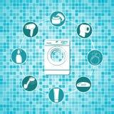 Sistema de iconos del cuarto de baño Ilustración del Vector