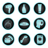 Sistema de iconos del cuarto de baño Stock de ilustración