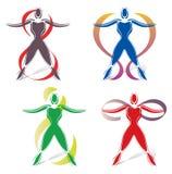 Sistema de iconos del cuerpo con símbolo del infinito Fotos de archivo libres de regalías